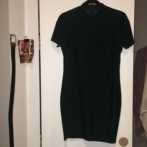 Dark emerald mini dress w/ mock neck